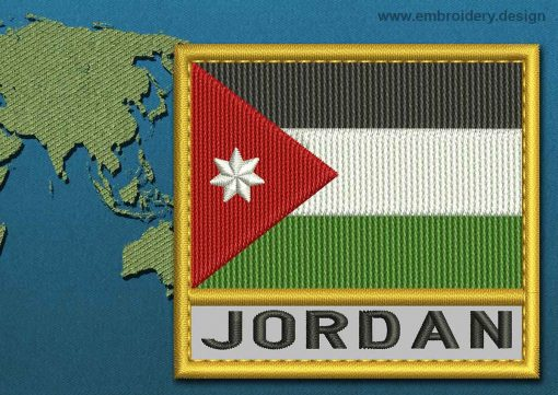 This Flag of Jordan Text with a Gold border design was digitized and embroidered by www.embroidery.design.