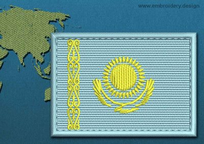 This Flag of Kazakhstan Rectangle with a Colour Coded border design was digitized and embroidered by www.embroidery.design.