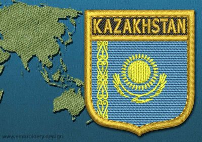 This Flag of Kazakhstan Shield with a Gold border design was digitized and embroidered by www.embroidery.design.
