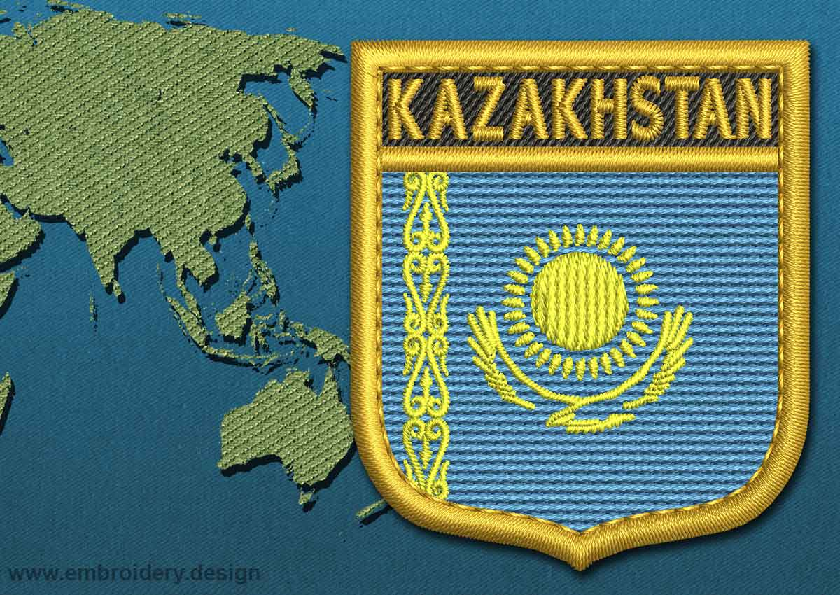 Kazakhstan Shield Flag Embroidery design with a Gold Border