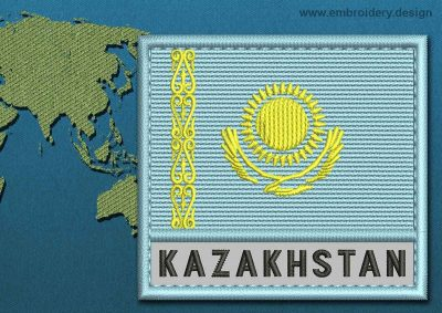 This Flag of Kazakhstan Text with a Colour Coded border design was digitized and embroidered by www.embroidery.design.