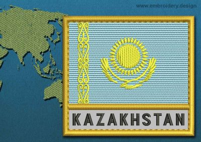 This Flag of Kazakhstan Text with a Gold border design was digitized and embroidered by www.embroidery.design.