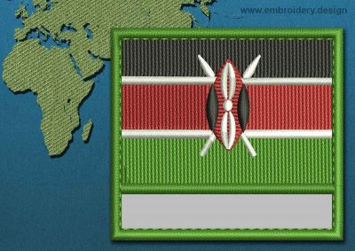 This Flag of Kenya Customizable Text  with a Colour Coded border design was digitized and embroidered by www.embroidery.design.