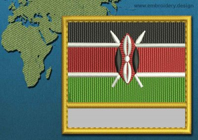 This Flag of Kenya Customizable Text  with a Gold border design was digitized and embroidered by www.embroidery.design.