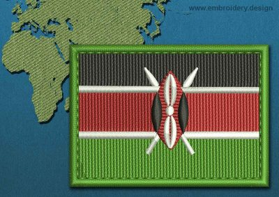 This Flag of Kenya Rectangle with a Colour Coded border design was digitized and embroidered by www.embroidery.design.