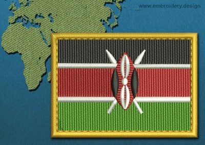 This Flag of Kenya Rectangle with a Gold border design was digitized and embroidered by www.embroidery.design.