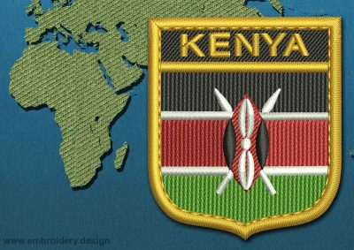 This Flag of Kenya Shield with a Gold border design was digitized and embroidered by www.embroidery.design.