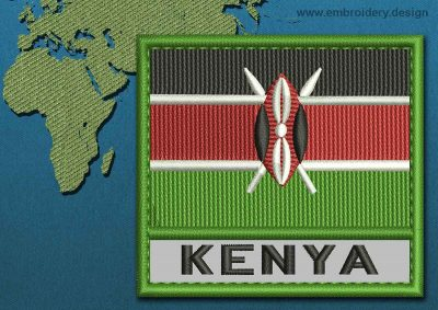 This Flag of Kenya Text with a Colour Coded border design was digitized and embroidered by www.embroidery.design.