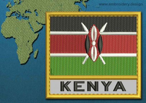 This Flag of Kenya Text with a Gold border design was digitized and embroidered by www.embroidery.design.