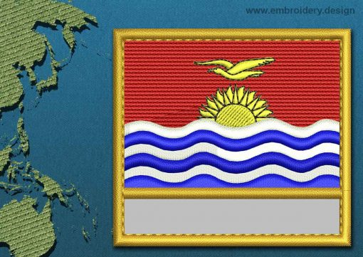 This Flag of Kiribati Customizable Text  with a Gold border design was digitized and embroidered by www.embroidery.design.