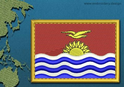 This Flag of Kiribati Rectangle with a Gold border design was digitized and embroidered by www.embroidery.design.