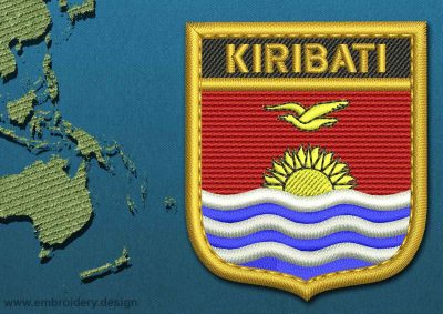 This Flag of Kiribati Shield with a Gold border design was digitized and embroidered by www.embroidery.design.