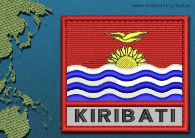 This Flag of Kiribati Text with a Colour Coded border design was digitized and embroidered by www.embroidery.design.
