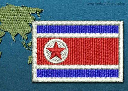 This Flag of Korea North Mini with a Colour Coded border design was digitized and embroidered by www.embroidery.design.