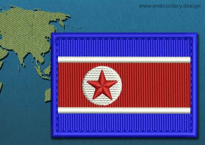 This Flag of Korea North Rectangle with a Colour Coded border design was digitized and embroidered by www.embroidery.design.