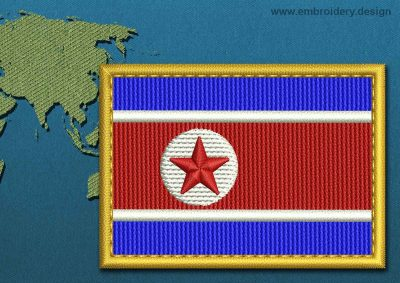 This Flag of Korea North Rectangle with a Gold border design was digitized and embroidered by www.embroidery.design.