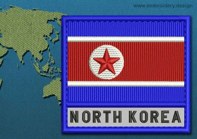 This Flag of Korea North Text with a Colour Coded border design was digitized and embroidered by www.embroidery.design.