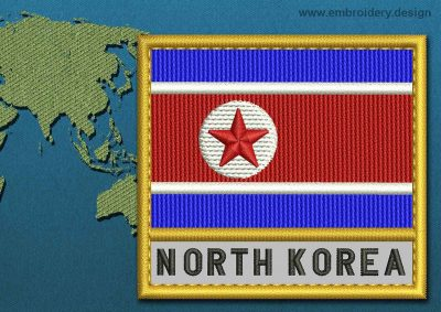 This Flag of Korea North Text with a Gold border design was digitized and embroidered by www.embroidery.design.