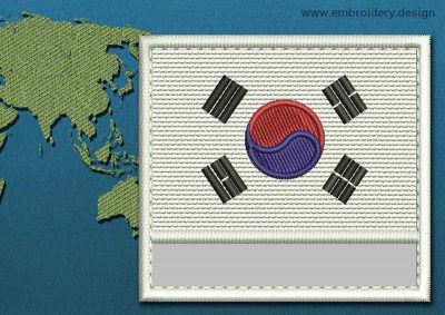 This Flag of Korea South Customizable Text  with a Colour Coded border design was digitized and embroidered by www.embroidery.design.