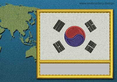 This Flag of Korea South Customizable Text  with a Gold border design was digitized and embroidered by www.embroidery.design.