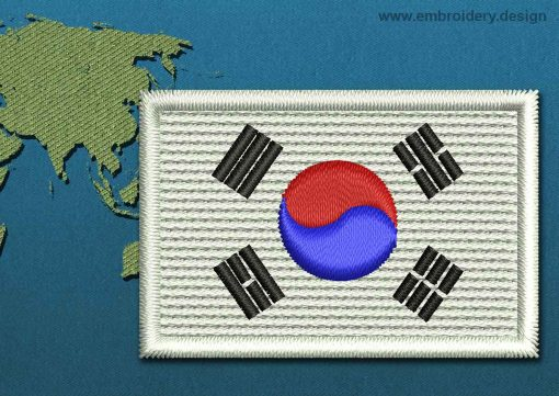 This Flag of Korea South Mini with a Colour Coded border design was digitized and embroidered by www.embroidery.design.