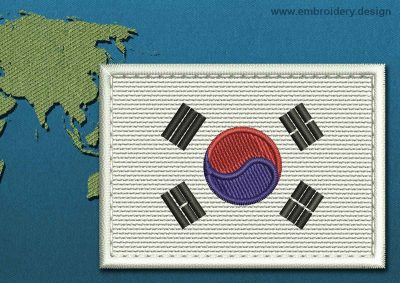 This Flag of Korea South Rectangle with a Colour Coded border design was digitized and embroidered by www.embroidery.design.
