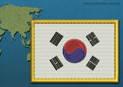 This Flag of Korea South Rectangle with a Gold border design was digitized and embroidered by www.embroidery.design.