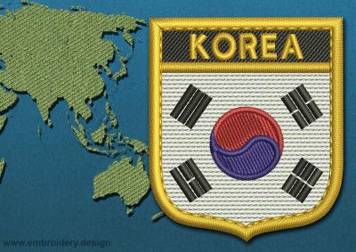 This Flag of Korea South Shield with a Gold border design was digitized and embroidered by www.embroidery.design.