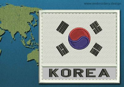 This Flag of Korea South Text with a Colour Coded border design was digitized and embroidered by www.embroidery.design.