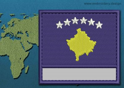 This Flag of Kosovo Customizable Text  with a Colour Coded border design was digitized and embroidered by www.embroidery.design.