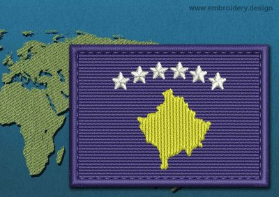 This Flag of Kosovo Rectangle with a Colour Coded border design was digitized and embroidered by www.embroidery.design.