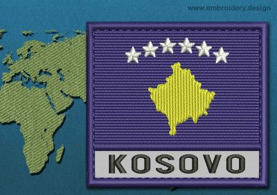 This Flag of Kosovo Text with a Colour Coded border design was digitized and embroidered by www.embroidery.design.