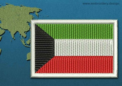 This Flag of Kuwait Mini with a Colour Coded border design was digitized and embroidered by www.embroidery.design.