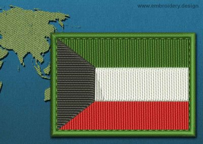 This Flag of Kuwait Rectangle with a Colour Coded border design was digitized and embroidered by www.embroidery.design.