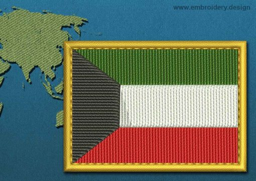 This Flag of Kuwait Rectangle with a Gold border design was digitized and embroidered by www.embroidery.design.