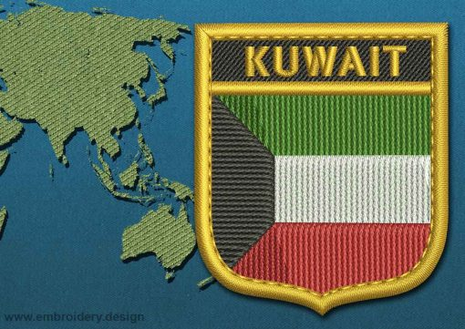 This Flag of Kuwait Shield with a Gold border design was digitized and embroidered by www.embroidery.design.