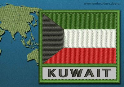 This Flag of Kuwait Text with a Colour Coded border design was digitized and embroidered by www.embroidery.design.