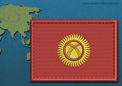 This Flag of Kyrgyzstan Rectangle with a Colour Coded border design was digitized and embroidered by www.embroidery.design.