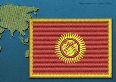 This Flag of Kyrgyzstan Rectangle with a Gold border design was digitized and embroidered by www.embroidery.design.