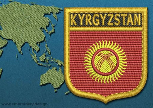 This Flag of Kyrgyzstan Shield with a Gold border design was digitized and embroidered by www.embroidery.design.