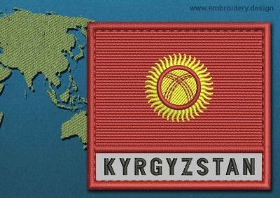 This Flag of Kyrgyzstan Text with a Colour Coded border design was digitized and embroidered by www.embroidery.design.