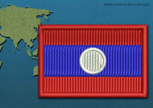 This Flag of Laos Mini with a Colour Coded border design was digitized and embroidered by www.embroidery.design.