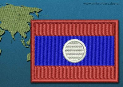 This Flag of Laos Rectangle with a Colour Coded border design was digitized and embroidered by www.embroidery.design.