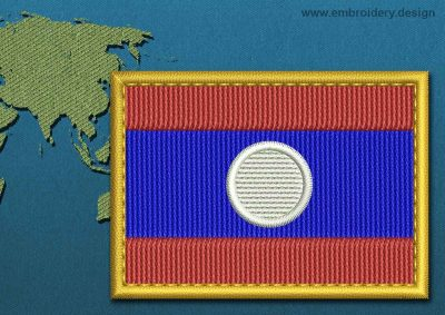 This Flag of Laos Rectangle with a Gold border design was digitized and embroidered by www.embroidery.design.