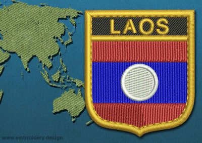 This Flag of Laos Shield with a Gold border design was digitized and embroidered by www.embroidery.design.