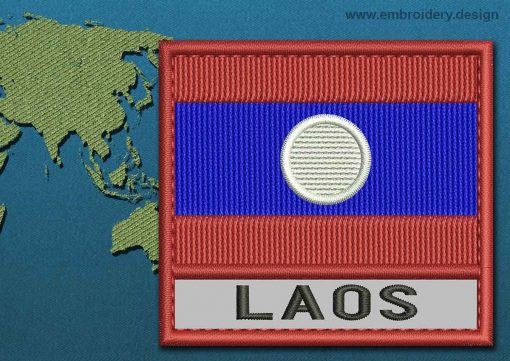 This Flag of Laos Text with a Colour Coded border design was digitized and embroidered by www.embroidery.design.