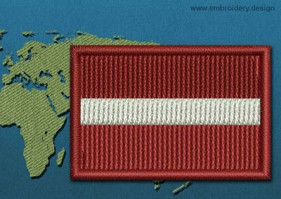This Flag of Latvia Mini with a Colour Coded border design was digitized and embroidered by www.embroidery.design.