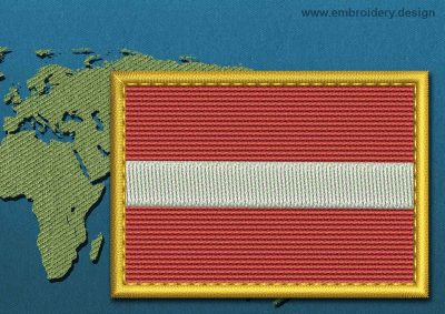 This Flag of Latvia Rectangle with a Gold border design was digitized and embroidered by www.embroidery.design.