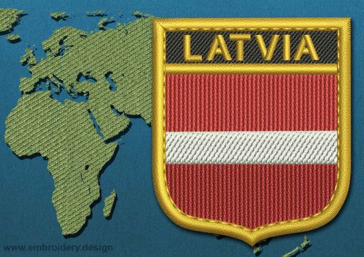 This Flag of Latvia Shield with a Gold border design was digitized and embroidered by www.embroidery.design.
