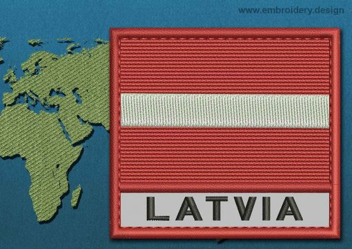 This Flag of Latvia Text with a Colour Coded border design was digitized and embroidered by www.embroidery.design.